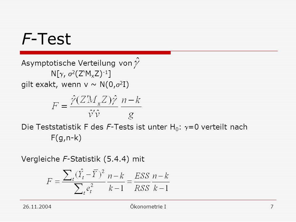 F-Test Asymptotische Verteilung von N[g, s2(Z'MxZ)-1]